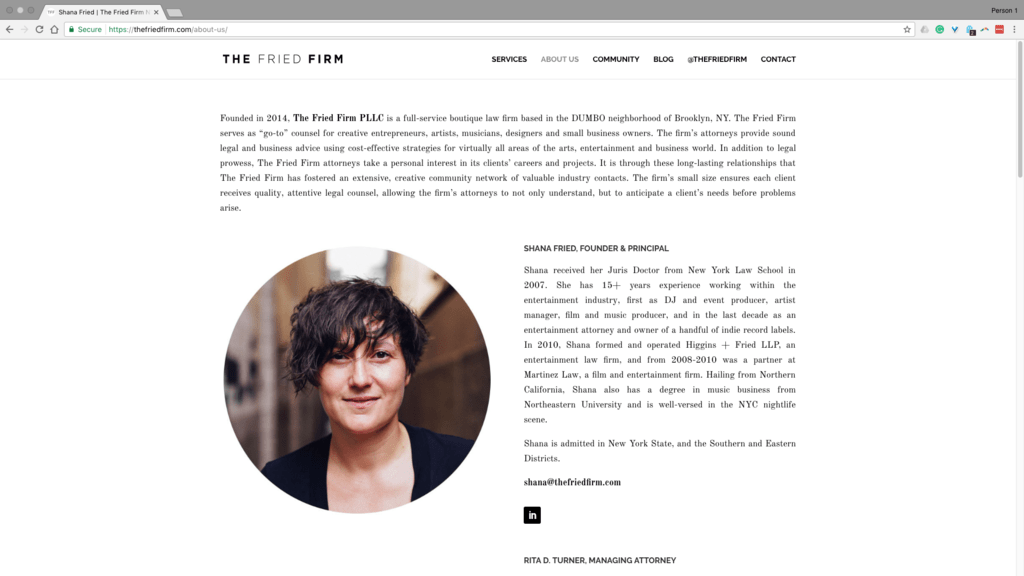 Techretaries Featured Client: Shana Fried, Founder & Principal, The Fried Firm